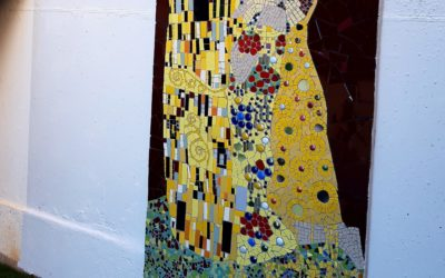 "Gustav Klimt ""the Kiss"", my mosaic interpretation of this famous and stunning painting of this famous austrian artist."