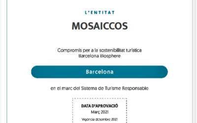 Our company MOSAICCOS is an entity with a commitment to tourism sustainability Barcelona Biosphere, within the framework of the Responsible Tourism System.